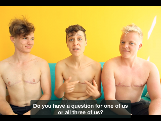 the naked truth pictures Jo in the middle with Bart and Chris on the sides, without shirt with a yellow background